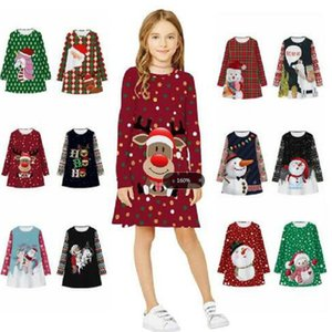 Christmas Cotton Kids Dresses Snowman Santa Xmas Tree Milu Deer Printed Round Collar Dress Long Sleeve Dress WY250 ZWL