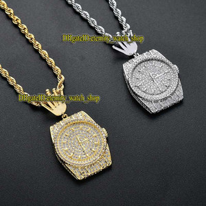 eternity European and American hip-hop personality CZ diamond dial pendant Iced Out watch clock pendant men's necklace hip-hop jewelry