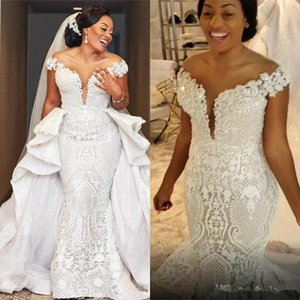 Spark Mermaid Wedding Dresses With Detachable Train African Lace Country Garden Boho Bridal Gowns Off The Shoulder Hochzeitskleider 2021