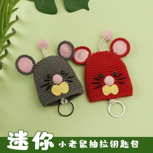 New Year of Rat Knitting Handmade Cute Little Mouse Wool Household Key Protection Case