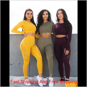 Fashion Seamless Yoga Set Sport Suit Workout Clothes For Women Long Sleeve Gym Crop Top High Waist Leggings Fitne qylsbo pets2010