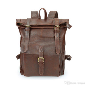 Top Quality Genuine Leather Backpack 2021 Travel Daypack Luxury Vintage Laptop Backpack Designer School Backpacks Free Shipping