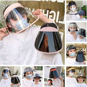 Kids Protective Full Face Mask Dustproof UV-proof Face Shield Summer Transparent Boys Girls Anti-droplet Masks Elastic Fashion Sun Hats INS