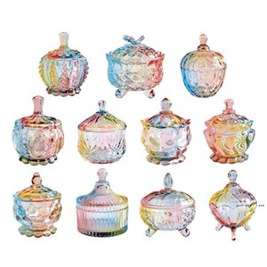 European storage jar colorful glass candy jar jewelry jam snack small sundry storage sugar platters trays dishes EWd5135