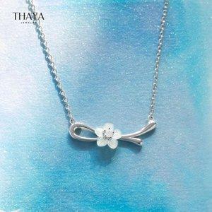 Thaya Fashion Silver Color Change Peach Blossom Подвески Серебряное Белое Оболочка Подвеска Ожерелье 45см Для Женщин Ювелирные Изделия 2021 Подарок