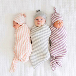 Stripe Swaddle Blankets+Hats Newborn Set Euro Sale Baby Bedding Infant Toddlers Stretchy Super Soft Receiving Blanket