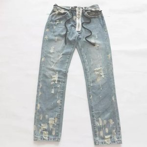 RSVP Style Rouge Blanc 17Fw Lavage d'occasion Bleu Léger Chao Brand Hole Jeans Printemps