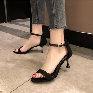 2021 Women's Shoes Fashion High Quality High Heel Sandal Shoes Lady Spring Summer Buckle Strap Solid Sandals Zapatillas Mujer