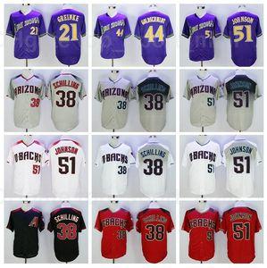 Retror Baseball Vintage 51 Randy Johnson Jersey 21 Zack Greinke 38 Curt Schilling 44 Paul Goldschmidt Ruhestand mit schwarzem lila rot grau