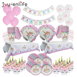 Unicorn Birthday Party Decoration Set Disposable Plates Tablecloth First Birthday Girl Party Baby Shower Unicornio Party Decor Y201006