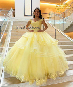 Giallo luminoso fuori dalla spalla Quinceanera Abiti da ballo elegante Abito da ballo in rilievo Masquerade Prom Dresses 2021 Charro Mexican Sweet 16 Dress