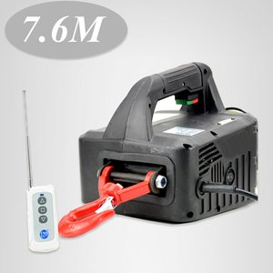 110V 220V 500KGX7.6M Portable Electric Winch Wireless Remote Controller Wire Rope Hoist Traction Block Windlass
