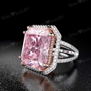 HBP fashion luxury straight temperament lady's big square PINK ring claw inlaid with diamond electric color separation hot sale