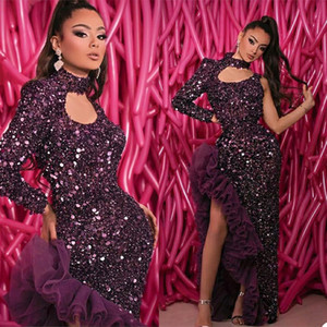 Sparky Grape Prom Dresses Sequin Beads Mermaid Evening Dresses Sexy Side Split Dubai Arabic Ruffles Formal Pageant Party Wears Vestidos