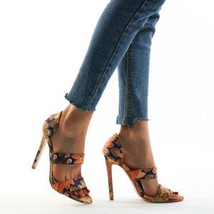 Sandalet Comfort Ayakkabı Kadınlar Için Kadın Sandalet Yüksek Topuklu Büyük Boy Kızlar Düz Stiletto 2021 Renkli Yüksek Topuklu Moda Big Pu Rom
