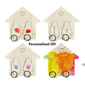 Creative Home Wooden Key Pendant DIY Couple Keys Holder For Wall Hanging Car Keychain Small Gift DHB8736