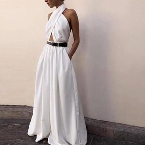 Women's Jumpsuits & Rompers Halter Wide Leg Sexy Bodycon Summer Jumpsuit Women Overalls Backless White Skinny Womens Female Long Pants