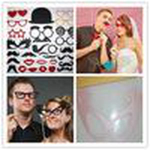 HOT SELL Party Photography Set of 29 Photo Booth Prop Mustache Eye Glasses Lips on a Stick Mask