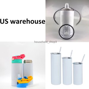 US warehouse 12-30oz Sublimation Straight Tumbler Sippy Cup Flipped Lid 2 in 1 kid bottles Blanks Stainless Steel Water Bottle Double-Wall Vacuum Insulated Mug Fast
