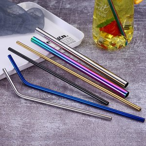 7 colors 215*6mm Stainless Steel Metal Straw Reusable Drinking Bent Straight Type straws Cleaner Brush Home Party Bar Accessories LLA445