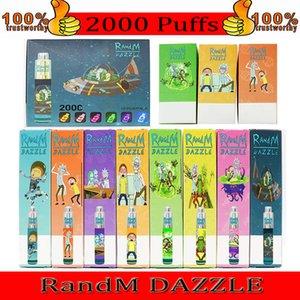 100% Original fábrica R e M Dazzle 2000Puffs 12 cores Vape Pen Preço Atacado Randm Dazzle com colorido RGB Light Disable Vape Pro
