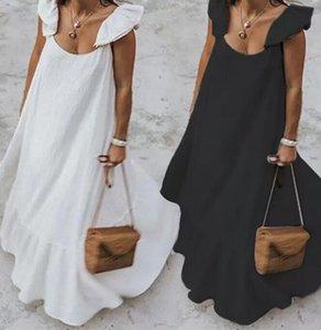 Womens Summer Ruffles Sundress Women Bohemian Solid Maxi Dress Casual Loose Female Sleeveless Robe Long Vestidos Plus Size