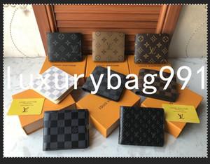 2021 럭셔리 지갑 2021 파리 격자 무늬 스타일 망 지갑 유명한 남자 지갑 특별 캔버스 박스 먼지 가방과 여러 짧은 작은 지갑