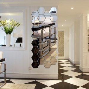 50pcs / set 3d espejo etiqueta de la pared hexagonal vinilo removible etiqueta de la pared calcomanía decoración del hogar arte DIY 147 V2