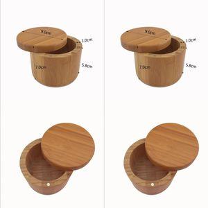 Pot d'assaisonnement en bois Bambou Spice Shaker Sugar Sel Poivre Sel Herbes Bouteille de rangement Spice Jar Cuisine GGD4890-1