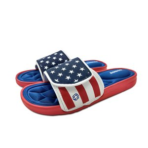 Men's Massage Slip on Cozy Memory Foam Flip Flops Pool Shoes slides sandals fashion Star Stripe Footwear wholesale drop 210908