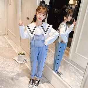 style Girls' net red denim western suspenders suit Lapel lace shirt two piece Korean children's spring dress