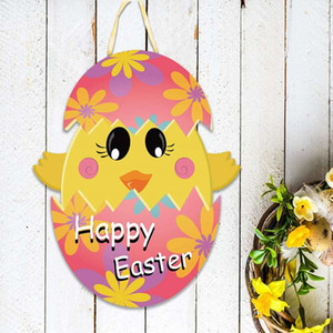 Easter Door Pendants Cartoon Rabbit Doorplate Hanging Decor Funny Colorful Rabbit Easter Eggs Door Hangings WWA176