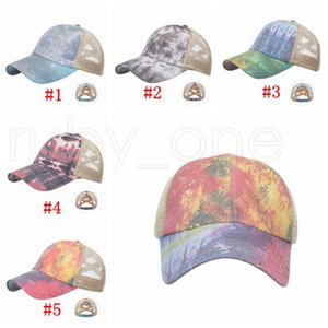 Tie Dye Ponytail Baseball Cap Criss Cross Washed Ball Caps Fashion Tie Dye High Messy Festive Party Hats Supplies RRA4184