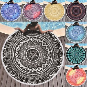 Mandala Beach Towel 150cm Round Towel Material Water Absorption Beach Blanket Bohemian Tapestry Yoga Mat Covers GWB5188