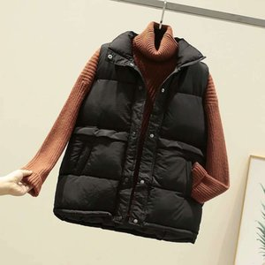 Women Winter Down Vests Casual Pure 3 Colors Pocket Puffer Vests Cotton Pedded Coats 2020FW Outerwear Womens Clothing Wholesale