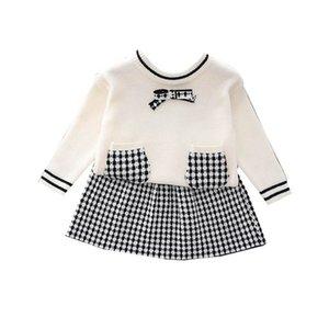 Girls Sweater Sets Kids Clothing Baby Clothes Outfits Autumn Winter Long Sleeve Knitting Patterns Bows pullover Skirts Cute Suits 2Pcs B8351