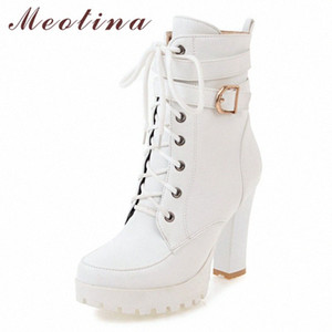 Meotina Winter Ankle Boots Women Boots Zipper Block Heels Short Buckle Extreme High Heel Shoes Ladies White Big Size 34 43 Skechers Bo b3kP#
