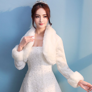 Women Ivory Winter Warm Faux Fur Wedding Bridal Shrug Elegant Long Sleeve Accessory Cape Lapel Collar Shawl Bolero Coat