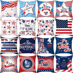 45x45cm Independence Day Pillow Case USA National Flag Printed Cushion Cover Peach Skin Sofa Throw Pillow Cases AHA4023