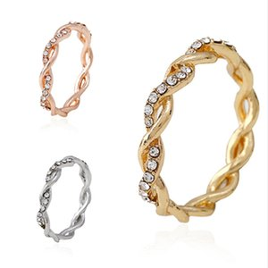 15pcs European and American Hot New Fashion Inlay Rhinestone Twist Rings Party Birthday Valentine Day Female Jewelry Gifts G-42
