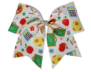 15pcs wholesale 7.5inch Back To Cheer Bow Elastic Band first day of school bows Ponytail Holder For Girls Kids Cheerleading Cheerleader