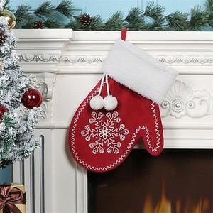 Christmas Snowflake Glove Stocking Xmas Tree Hanging Decoration Snowflakes Gloves Children Gift Sock Bag Festival Decor Pendant OWD10443
