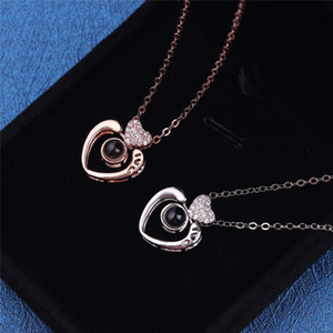 100 languages I love you Projection Pendant Necklaces Heart Shape Crystal Gift For Women Romantic Jewelery Gifts For Women Lover