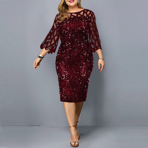 Party Dresses Sequin Plus Size Women's Dress 2021 Summer Birthday Outfit Sexy Red Bodycon Dress Wedding Evening Night Club Dress 210304