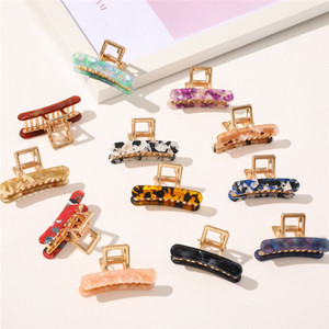 Korean INS Rectangle Acetate Clamps Marble Acrylic Hair Clips Girls Geometric Hairpins Crab Claws Clamp Accessories for Women