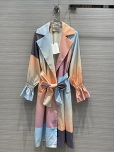 2021 Rainbow Slow Sleeves Long Women's Trench Coats High End Belt Botons Womens Casacos Trench Milan Runway 202123