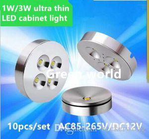 10 pçs / conjunto LED Ultra Fino 3W Luz de gabinete montado no teto, Lâmpada de parede LED AC85-265V, Luminária de jóias, mini lâmpada de exibição rotável
