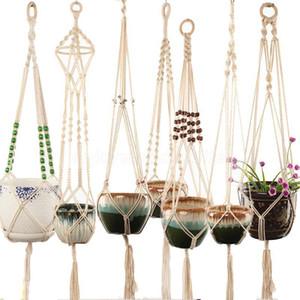 Cestelli appesi Macrame Macrame Handmade Plant Plant Gancio Flower Flower / Pot Hanger per Indoor Outdoor Boho Decoration Home Decoration Giardino con perle di legno