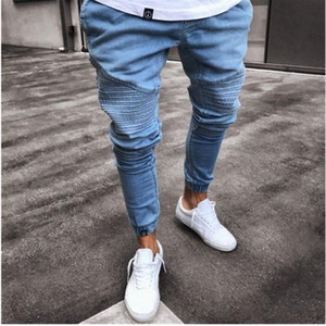 Mens Jeans 2021 New Fashion Tight Elastic Zipper Jeans For Men Pleated Jeans For Men Slim