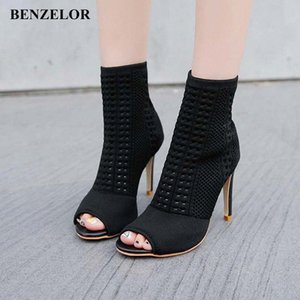 BENZELOR 2018 Autumn Winter New Peep Toe Women Shoes Woman Boots Thin Super High Heels Fashion Ladies Boot Black N17 i4k5#